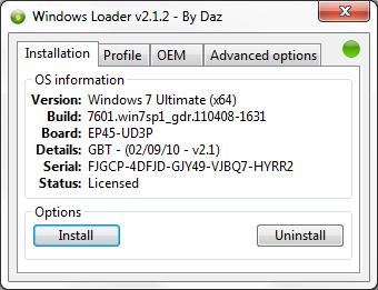 активатор windows 7 loader 2.1.2 by Daz
